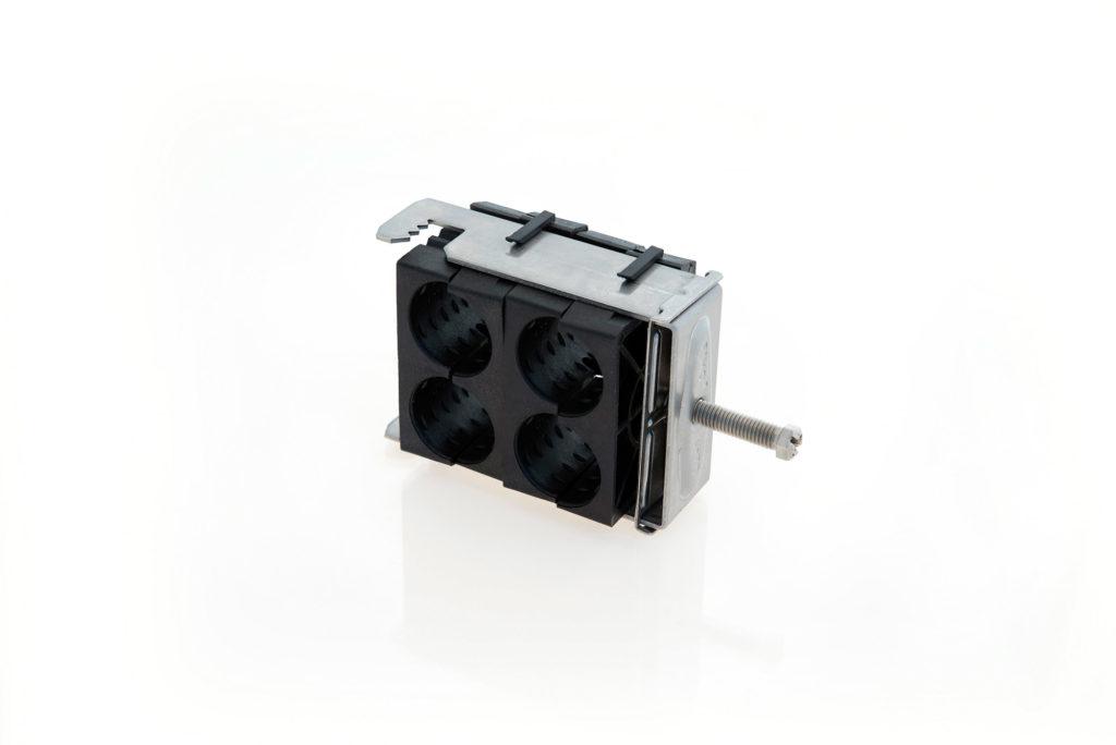 RF B Fixation quadruple pour plat ou rond de 3 à 12mm