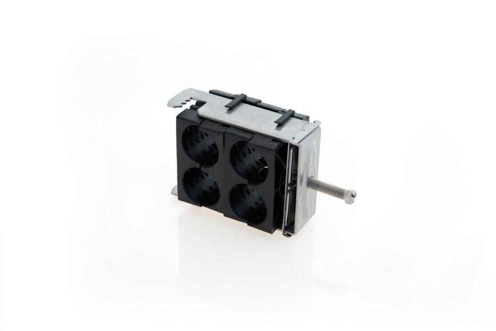 RF M Fixation quadruple pour plat ou rond de 8 à 25 mm