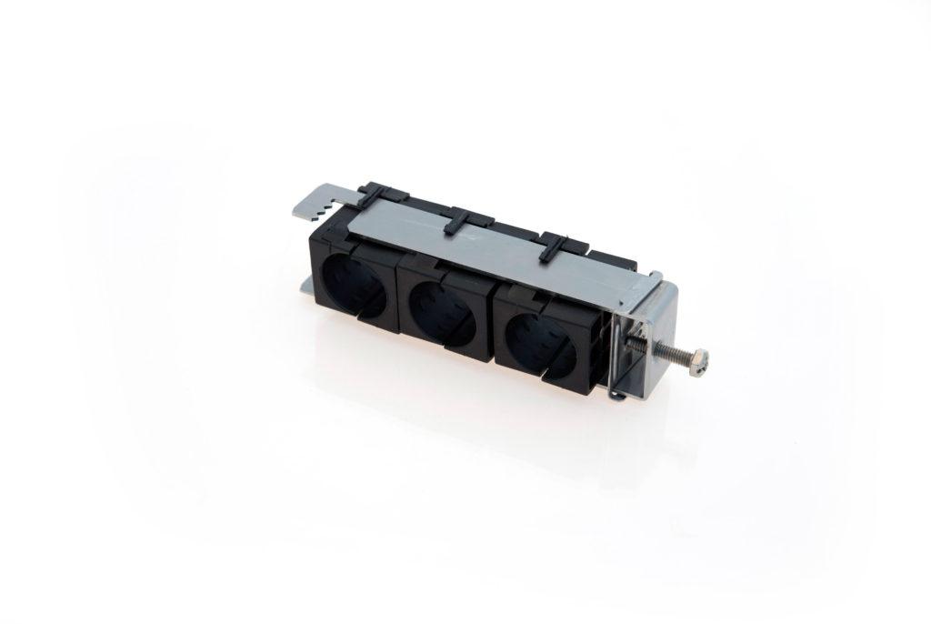 RF M Fixation triple pour plat ou rond de 8 à 25mm